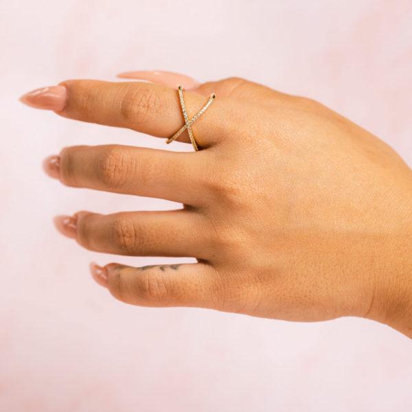 Cross Band Gold Ring Hand Model