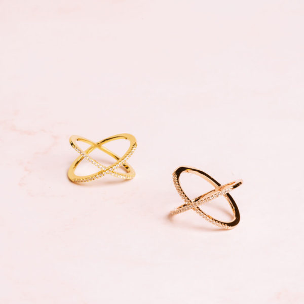 Cross Band Rings Gold and Rose