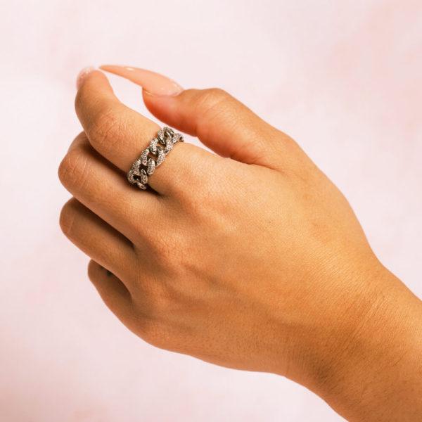 Cuban Silver Ring Hand Model 2
