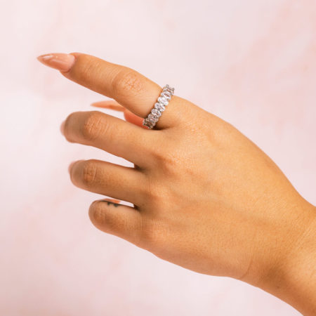 Oval Silver Ring Hand Model