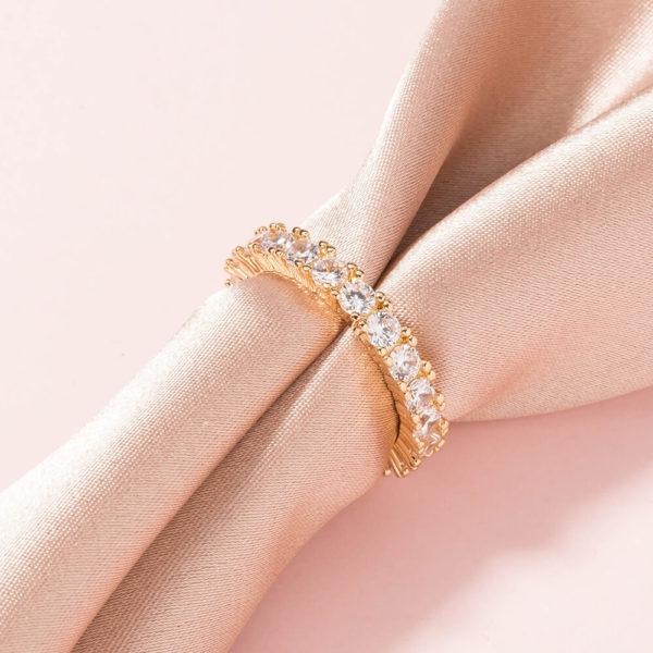 Round Cut Gold Ring on Silk