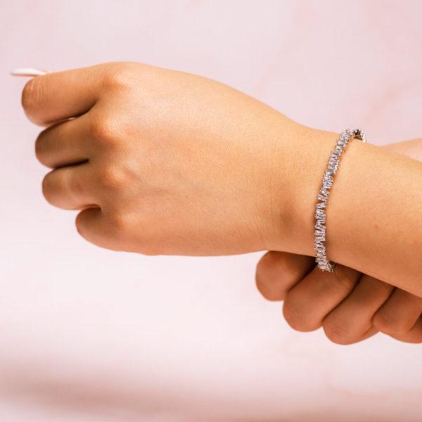 Baguette Silver Bracelet Hand Model